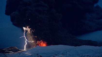 Lighting seen amid the lava and ash erupting from the vent of the Eyjafjallajokull volcano in central Iceland early Sunday morning as it continues to vent into the skies over Europe. Low-energy lightning is sometimes active during eruptions, arcing between particles as they exit the volcanic vent at around 100 metres per second..