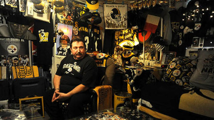 Dennis DeLuca of Carnegie is immersed in Steelers paraphernalia. More photos at post-gazette.com.