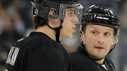 Penguins defenseman Sergei Gonchar, right, and forward Evgeni Malkin.