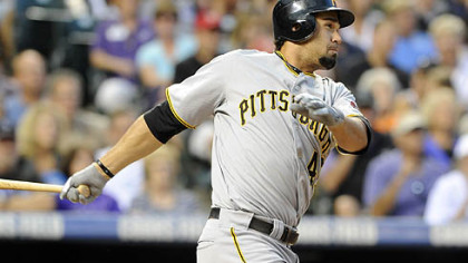 The Pirates' Garrett Jones drives in the tie-breaking run in the sixth inning.