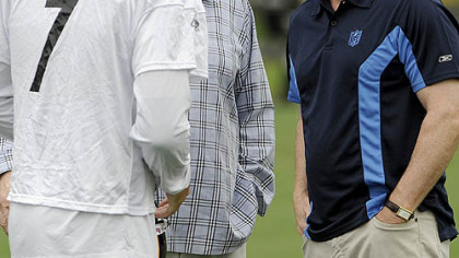 NFL commissioner Roger Goodell, right, talks with former coach John Madden, center, and Steelers quarterback Ben Roethlisberger Thursday morning at Steelers training camp.