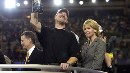 Bill and Kaye Cowher celebrate the Steelers' Super Bowl XL victory against the Seattle Seahawks, Feb. 6, 2006.