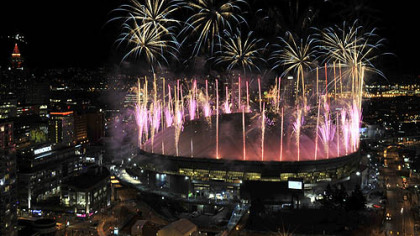 Fireworks explode over BC Place Stadium after the closing ceremonies Sunday night.