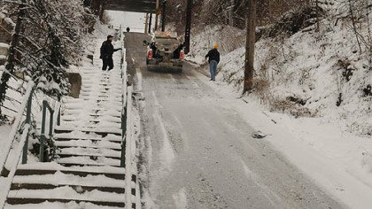 Rialto Street closed earlier this month as crews struggled to salt the steep street.