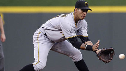 Pirates shortstop Ronny Cedeno fields a ground ball hit by the Reds&#039; Scott Rolen for an out in the third inning.