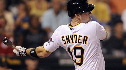 Chris Snyder gets his first hit as a Pirate in the second inning.