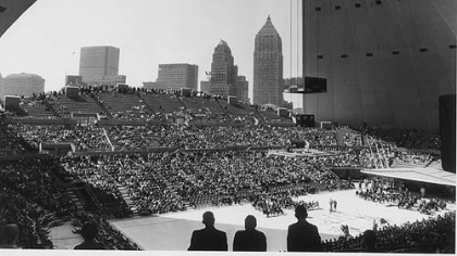 Pittsburgh skyline from within Civic Arena at opening ceremonies.