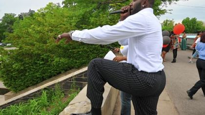 DeJuan Blair was the emcee for the Schenley High School prom lineup at the Highland Park Reservoir Friday.