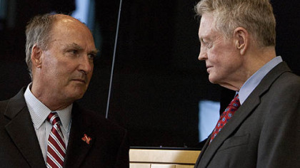 Big Ten commissioner Jim Delany, left and Nebraska athletic director Tom Osborne.