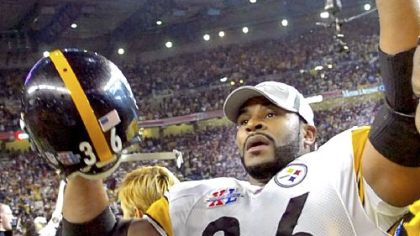 Jerome Bettis celebrates the 21-10 victory against the Seahawks in Super Bowl XL Feb 5, 2006, in Detroit. Bettis announced his retirement after the game in his hometown.