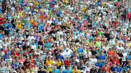 More than 16,000 runners jammed the Strip District as the Pittsburgh Marathon gets under way.