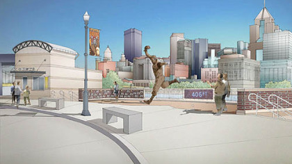 The proposed placement of the Bill Mazeroski statue at PNC Park.