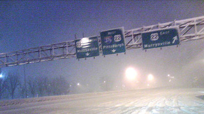 The interchange from the Pennsylvania Turnpike inbound to the Parkway East at Monroeville.