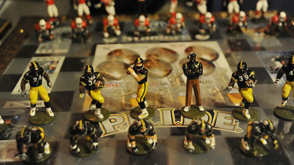 Shown here is a hand painted Steelers vs. Cardinals Super Bowl chess set.