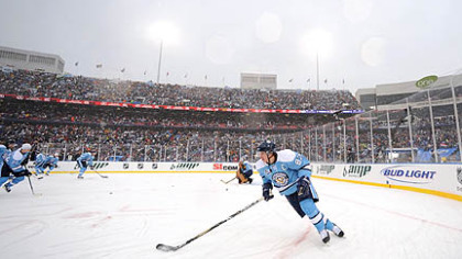 Sidney Crosby warms up prior to the start of the NHL's inaugural Winter Classic game, Jan. 1, 2008, at Ralph Wilson Stadium in Buffalo against the Sabres. The Penguins won 2-1 in a shootout.