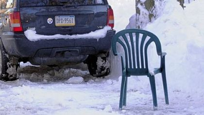 A chair on East End Street in Edgewood.