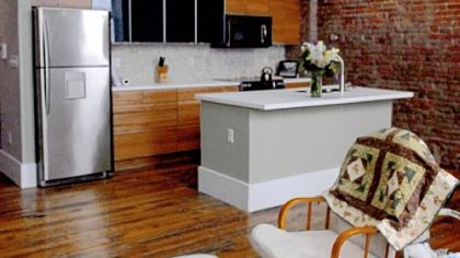 The kitchen/living room in the Lawrenceville building of Rebecca Morris and Brian Mendelssohn that was runner-up in the Renovation Inspiration Contest.