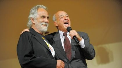 Cyril H. Wecht, right, introduces Tommy Chong of the stoner duo Cheech and Chong, at a Democratic Party fundraiser Wednesday at the International Brotherhood of Electrical Workers Local Union 5.