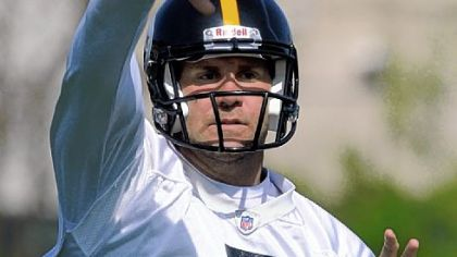Steelers quarterback Ben Roethlisberger runs a passing drill on the first day of mandatory off-season workouts in April.