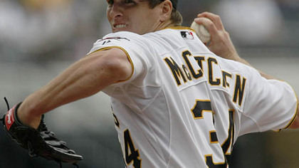 Pirates pitcher Daniel McCutchen throws against the Milwaukee Brewers in the first inning of Thursday&#039;s game at PNC Park.