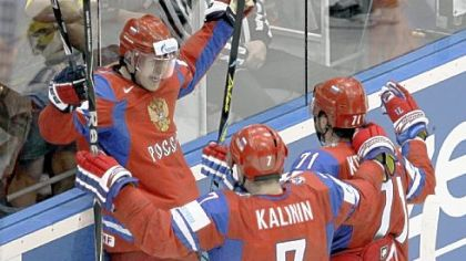 Evgeni Malkin, added to Russia's roster after the Penguins were eliminated,  celebrates after scoring in the quarterfinals of the World Champion-ships in Germany this week.
