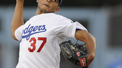 Dodgers starter Carlos Monasterios allowed one run on three hits and hit two batters