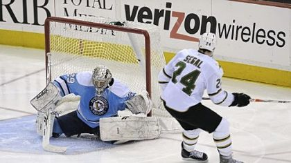 Marc-Andre Fleury stops a shot by Brandon Segal in the second perod. Fleury had 27 saves.
