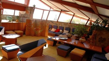 The living room at Taliesin West, also called the garden room by architect Frank Lloyd Wright, is in one of 2 homes maintained by Wright. Taliesin West served as personal residence, studio, architectural laboratory and school for Wright and his staff and students.