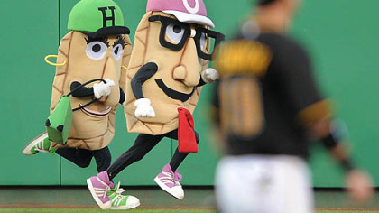A pierogi race takes place in front of Pirates right fielder Ryan Church during Friday&#039;s game at PNC Park.