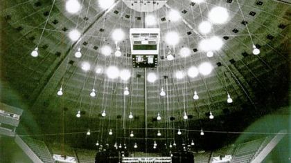 On Sept. 15, 1986, the ceiling of the Civic Arena dazzles as the stage is set for a concert.