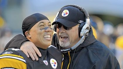 Steelers wide receiver Hines Ward and offensive coordinator Bruce Arians.