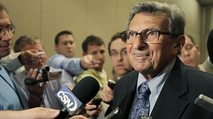 Penn State head football coach Joe Paterno speaks to reporters Monday,  in Chicago at the Big Ten Conference's annual media days.