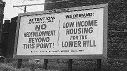 Billboard protesting Lower Hill development, 1968.