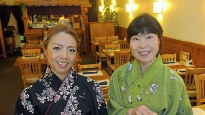 Naoko Fukada, left, and Jackie Yasuzawa show a sampling of Chaya's appetizers.