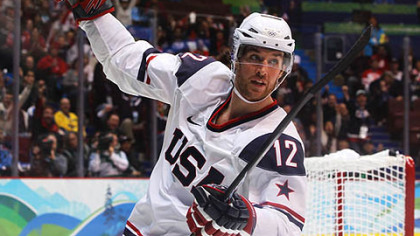 Pittsburgh native and former Penguin Ryan Malone celebrates scoring for Team USA after a win over Norway last week.