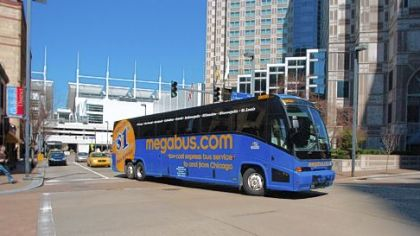 The Megabus leaves Downtown on its maiden Pittsburgh voyage in 2007.