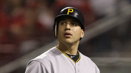 The Pirates&#039; Jason Jaramillo looks up at the scoreboard after stricking out against Reds relief pitcher Mike Lincoln in the ninth inning.