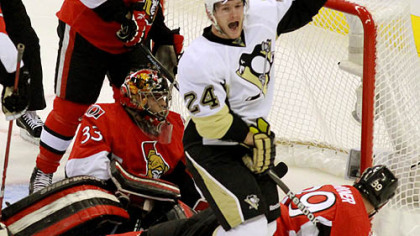 Penguins forward Matt Cooke a second period goal in Saturday's win at ScotiaBank Place in Ottawa.