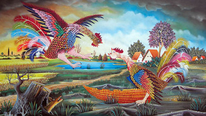This scene of a confrontation between two roosters is by Pavel Hajko, who often features roosters in his work.