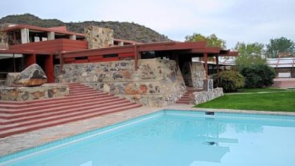 Frank Lloyd Wright built Taliesin West from stones, rocks and sand he collected from the desert and placed in wood forms with concrete.