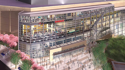 A rendering of the Consol Energy Center as viewed from Centre Avenue.
