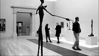 """Art in Our Lives: Giacometti Points the Way, Tate Gallery, London,"" 2003, is a black-and-white inkjet photo by William D. Wade that is part of the Silver Eye Gallery's sixth annual auction."