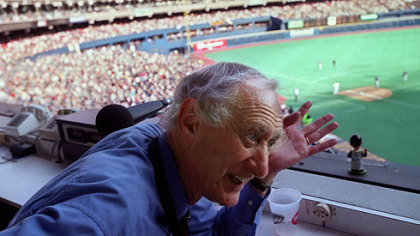 Nellie King, former Pirate pitcher and broadcaster at the last Pirates game at Three Rivers Stadium in 2000.