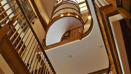 A view from below of the spiral staircase.