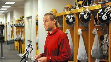 Ben Roethlisberger reads a statement to the media at the Steelers' South Side facility regarding the events of the day.