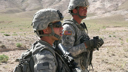 Sgt. Bryan A. Hoover, left, and Sgt. Robert J. Fike patrol in the Shajoy District of Zabul Province, Afghanistan. Both men died in a suicide bomb attack.