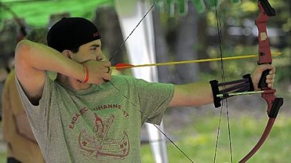 Joe Navari, 14, of Troop 115 in Penn Hills, works on archery skills at Camp Liberty.