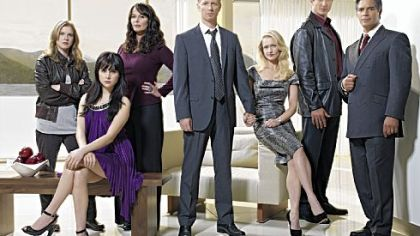 "The cast of ""Caprica"" includes, from left, Polly Walker as Sister Clarice Willow, Alessandra Torresani as Zoe Graystone, Magda Apanowicz as Lacy Rand, Eric Stoltz as Daniel Graystone, Paula Malcomson as Amanda Graystone, Sasha Roiz as Sam Adama, Esai Morales as Joseph Adama."