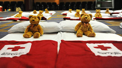 Cots line an auditorium in Children's Hospital of Pittsburgh of UPMC in Lawrenceville in preparation for the arrival of the Haitian ophans.