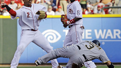 Reds shortstop Orlando Cabrera, left, throws to first base to complete a double play after forcing out the Pirates&#039; Aki Iwamura at second base during the first inning of Wednesday&#039;s game at Great American Ballpark, in Cincinnati as second baseman Brandon Phillips watches. The Pirates&#039; Neil Walker was out at first.